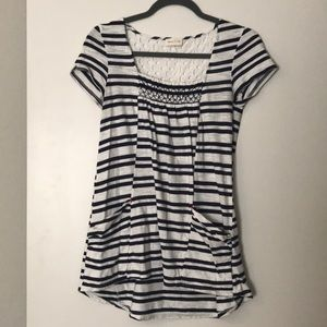 Anthropologie blue stripe shirt size small
